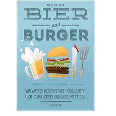 Bier und Burger in Blau
