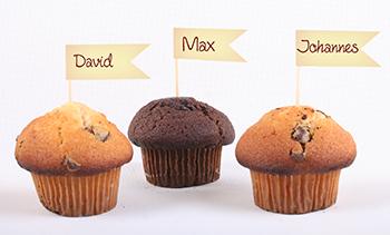 Muffindekoration mit Name