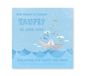 Taufkarten   Kleines Papierboot