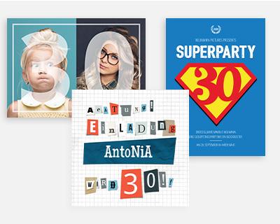 Designs und Formate 30. Geburtstag