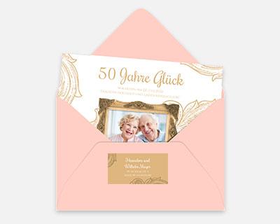 Extras Einladungskarten Goldene Hochzeit