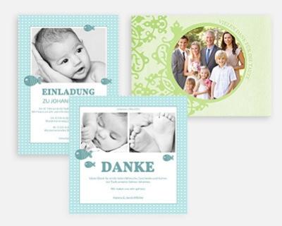 Dankeskarten Taufe Designs